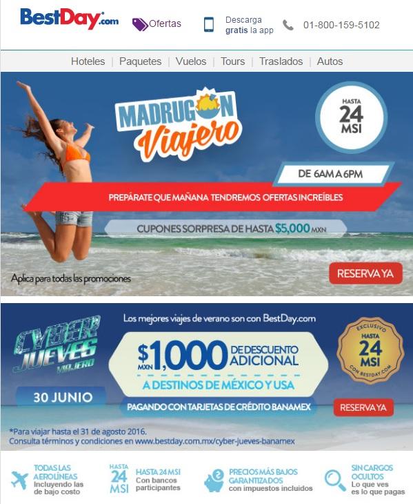 BestDay: Cupón Cyberjueves $1,000 y Madrugón Viajero con cupones de hasta $5,000