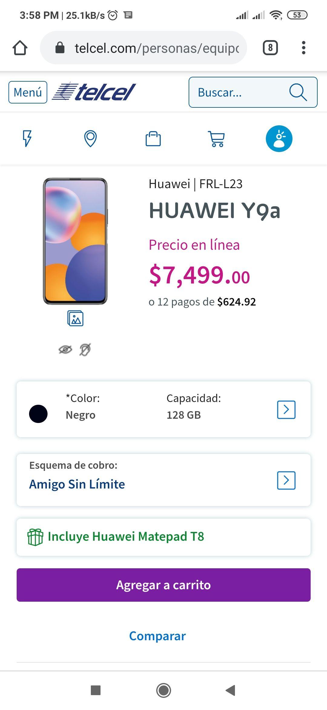 Telcel: Huawei Y9a + Huawei matepad T8