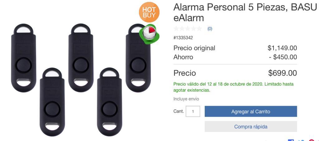 Costco: Alarma Personal 5 Piezas, BASU