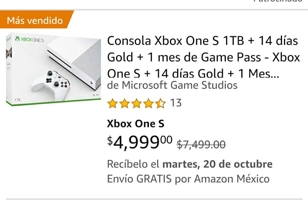 Amazon: Consola Xbox one s envío gratis con prime
