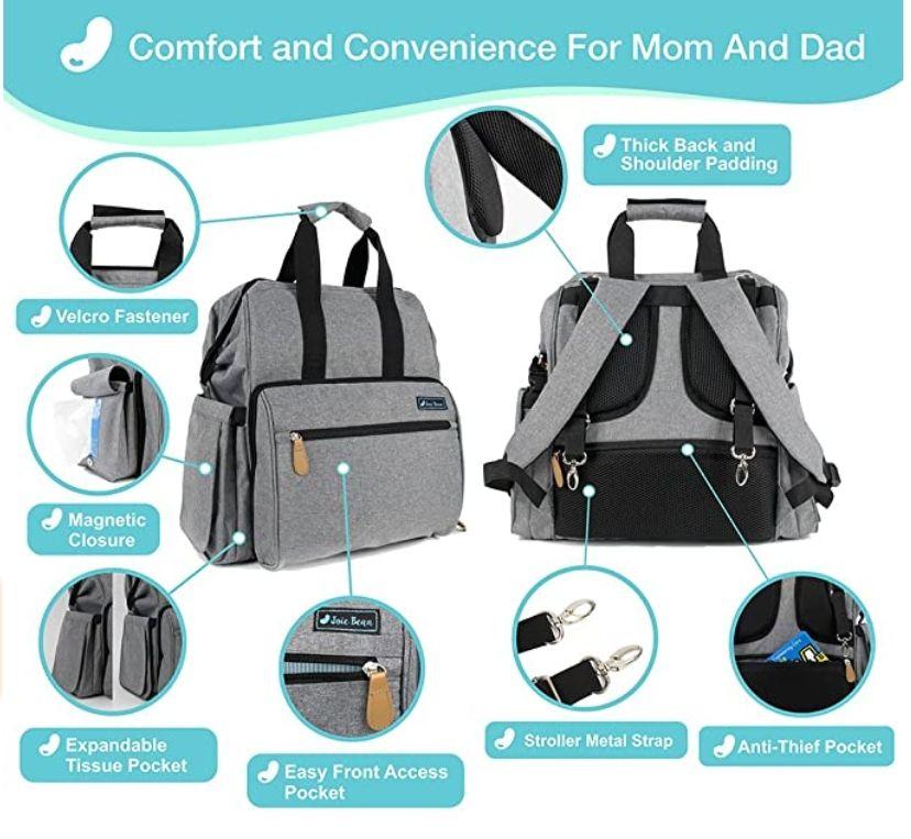 Amazon: JOIE BEAN - Mochila y Milk Bag termico, para pañales, gran capacidad, para maternidad, viajes, bebé