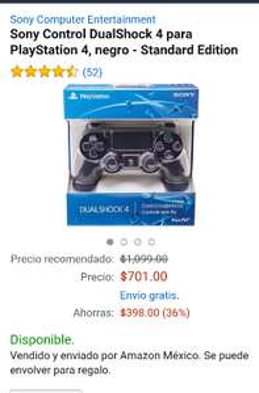Amazon México: Control DualShock para PS4 negro a $701