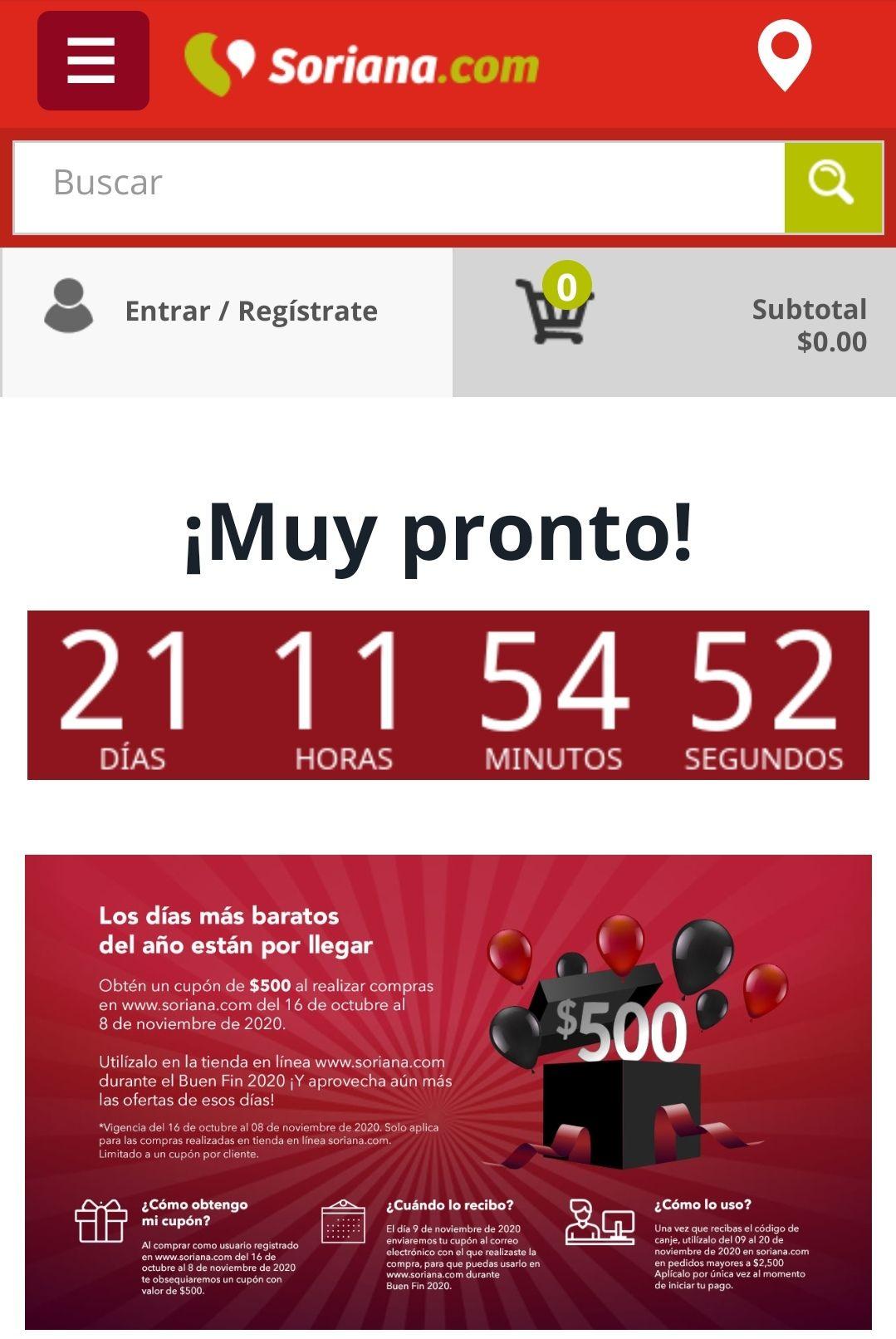 Soriana: cupón de $500 para el buen fin 2020 al comprar en soriana.com del 16 oct al 8 nov