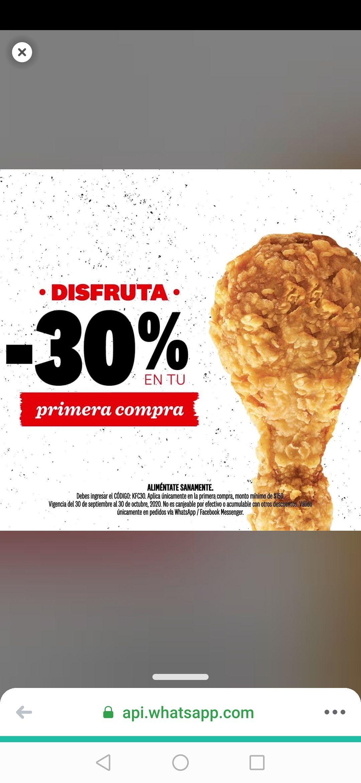 KFC: 30% de Descuento en tu primer pedido vía Whatsapp/ Facebook Messenger
