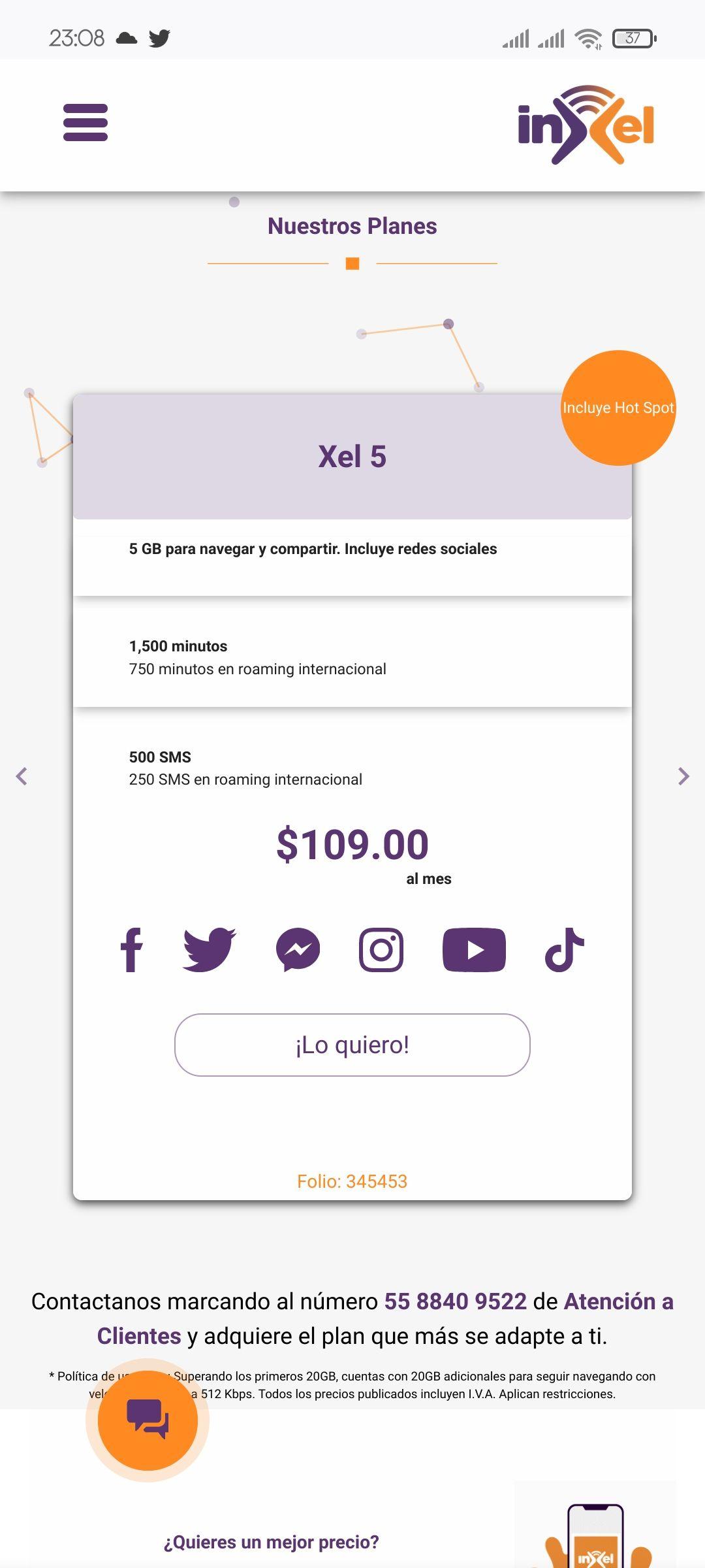 Omv Altan Inex: 1500 minutos, 500 SMS y 5GB por $109
