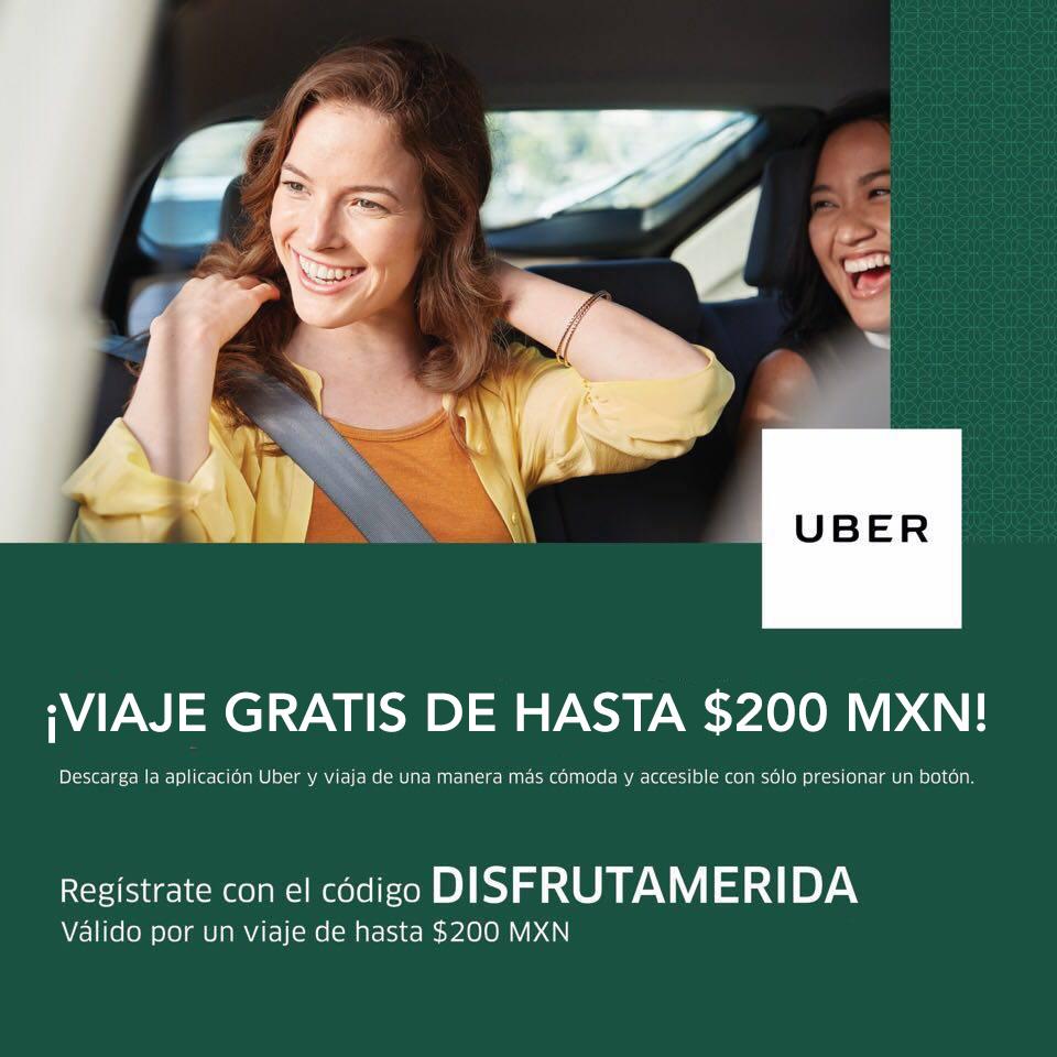 Uber: viaje de hasta $200 para todos los usuarios (nuevos y existentes) en Mérida