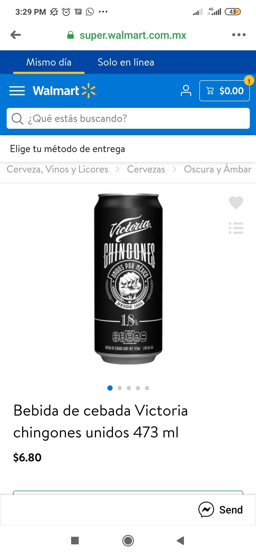 Walmart: Bebida de cebada Victoria chingones unidos 473 ml