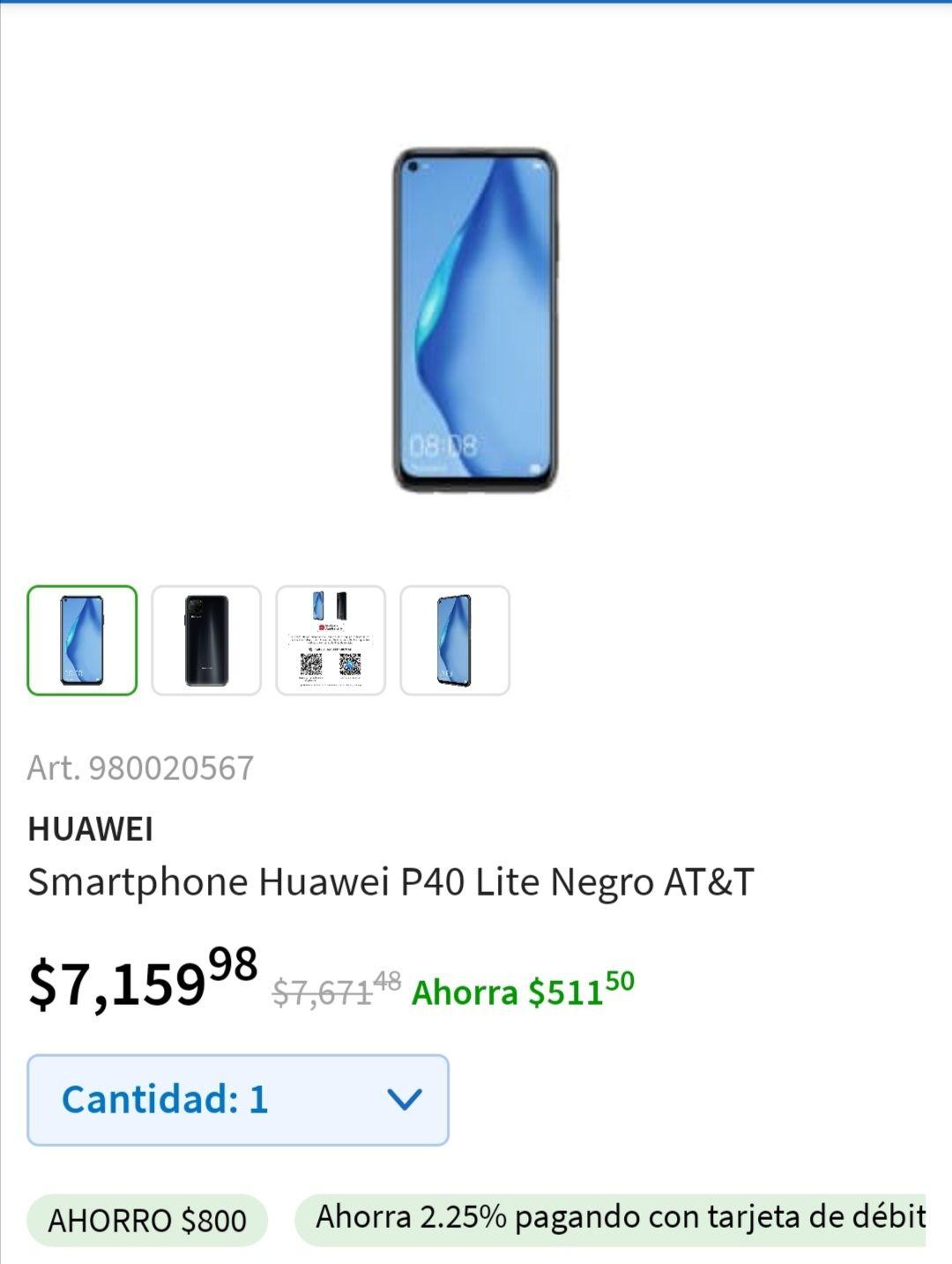 Sam's Club: Huawei p40lite verde o negro att 6gb ram 128gb ROM hasta 18 msi ($5180 con Inbursa) .