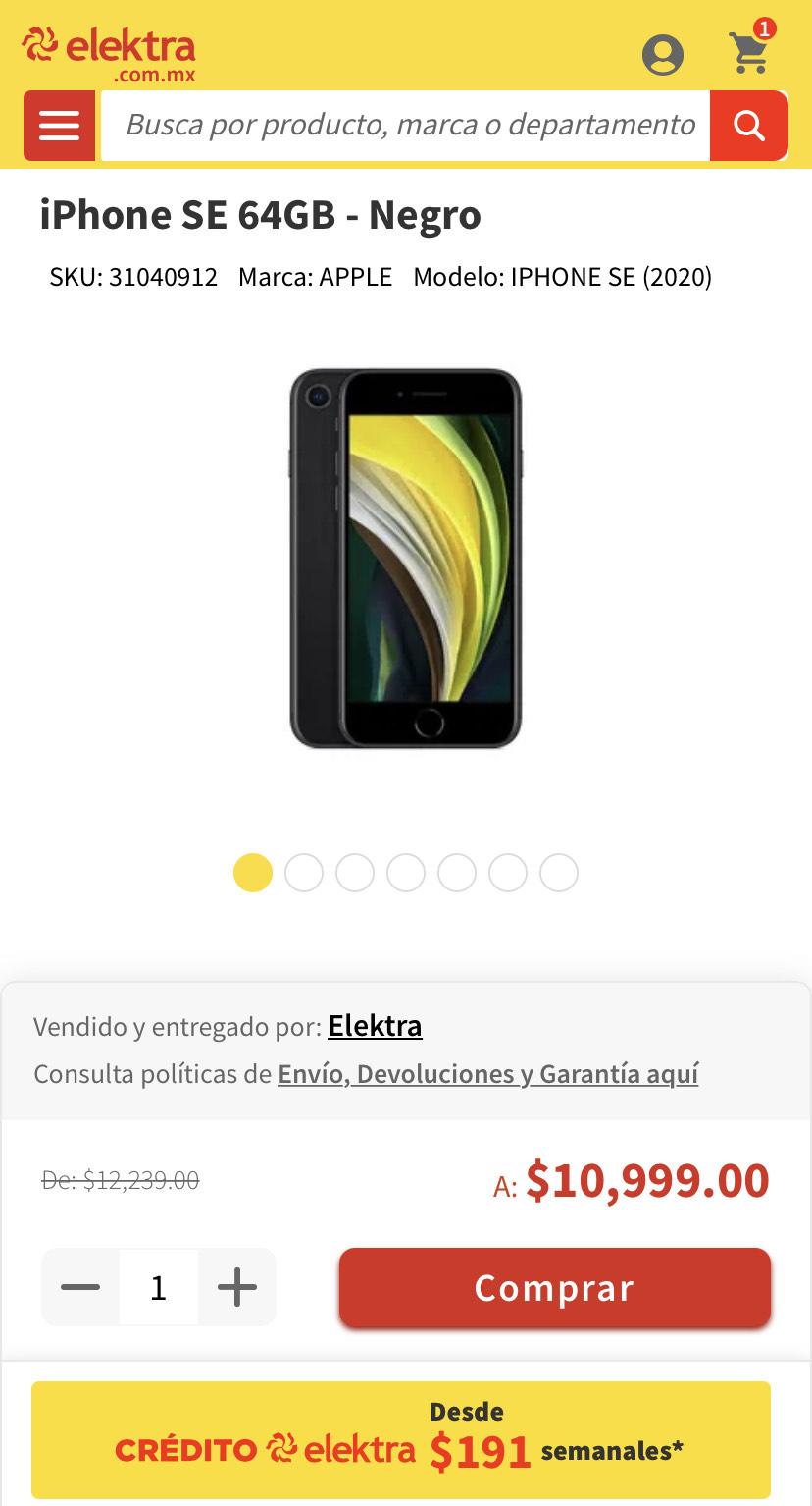 Elektra: iPhone SE 64GB - Negro Banorte Un solo pago