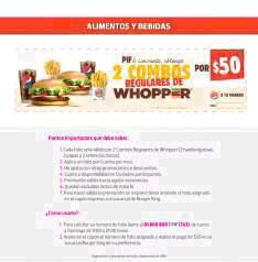 Liverpool (Tarjeta PIF): 2 combos Whopper regulares (hamburguesa normal, papas y refresco chicos) por $50
