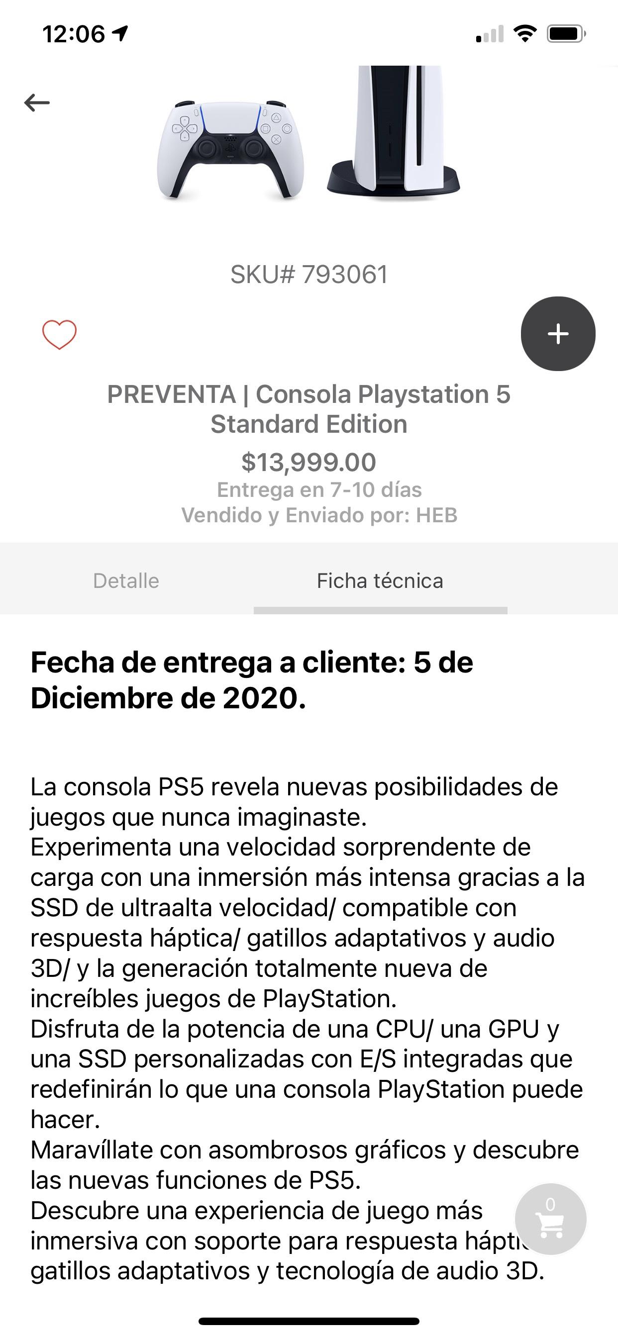 H-E-B preventa PS5 estándar edition entrega 5 de diciembre