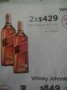 Sam's Club: Johnnie Walker Red Label 750 ml 2x$429 Aplica con el 6x5