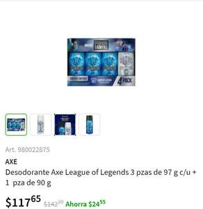 Sam's Club: Desodorantes Axe League of Legends 3 pzas de 97g c/u + 1 pza de 90g