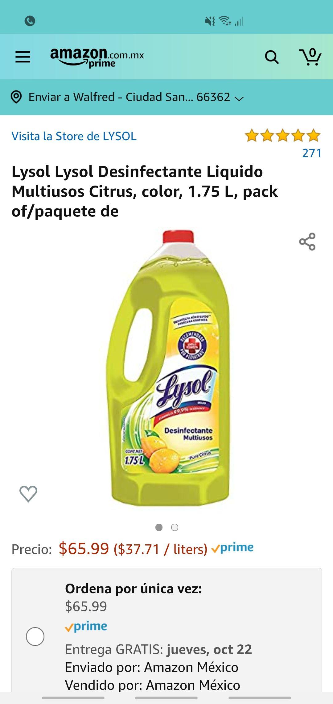 Amazon: Lysol Lysol Desinfectante Liquido Multiusos Citrus, color, 1.75 L, pack of/paquete de