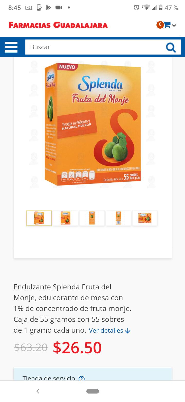 Farmacia Guadalajara: Splenda Frutos del Monje 55 sobres
