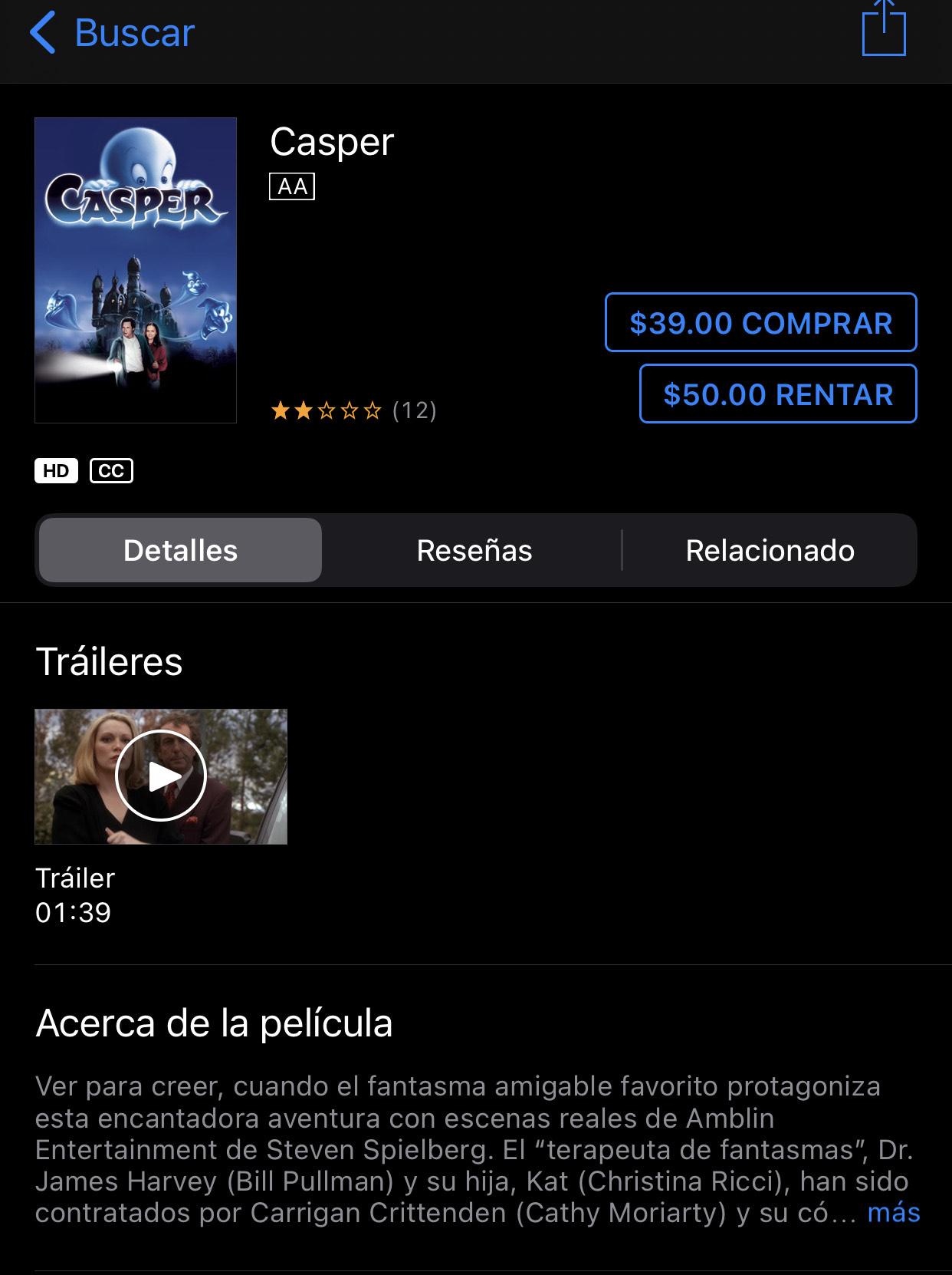 iTunes: Casper clásico de la semana