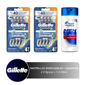 Amazon: Gillette Prestobarba3 Máquinas de Afeitar Desechables 2 Paq + Head & Shoulders Old Spice Shampoo Control Caspa de 90 ml