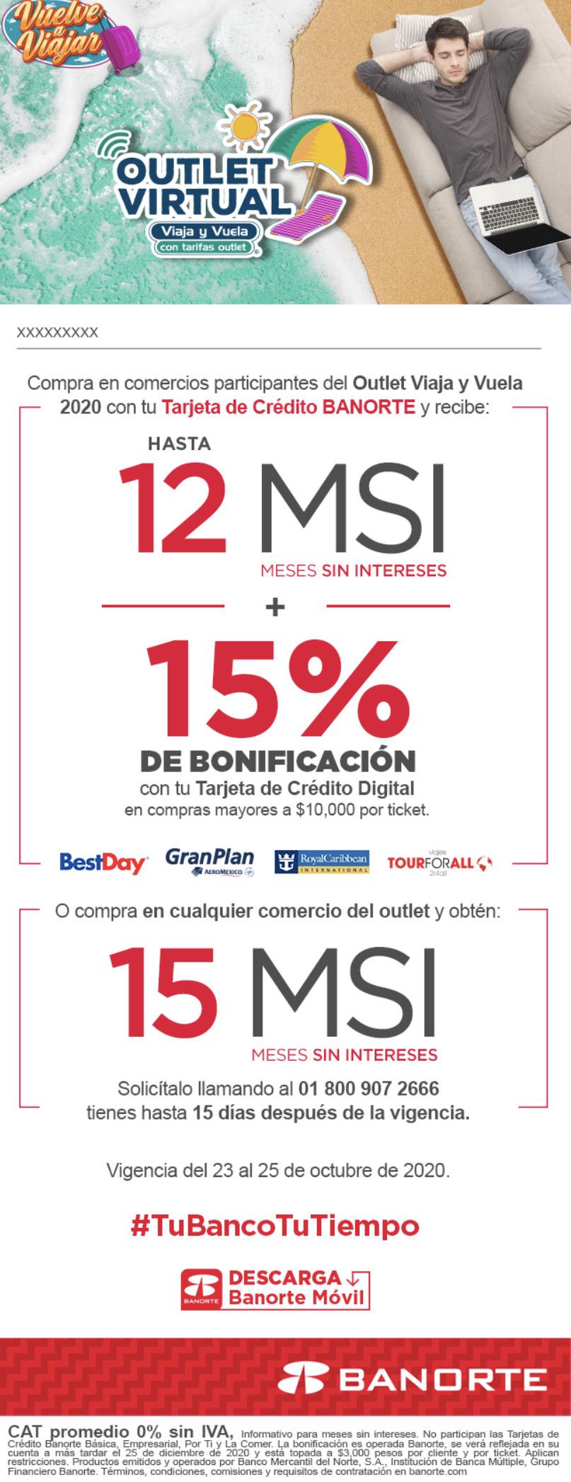Banorte Outlet Virtual: 12 MSI + 15% de bonificación en compras mayores a $10,000 (tiendas seleccionadas)