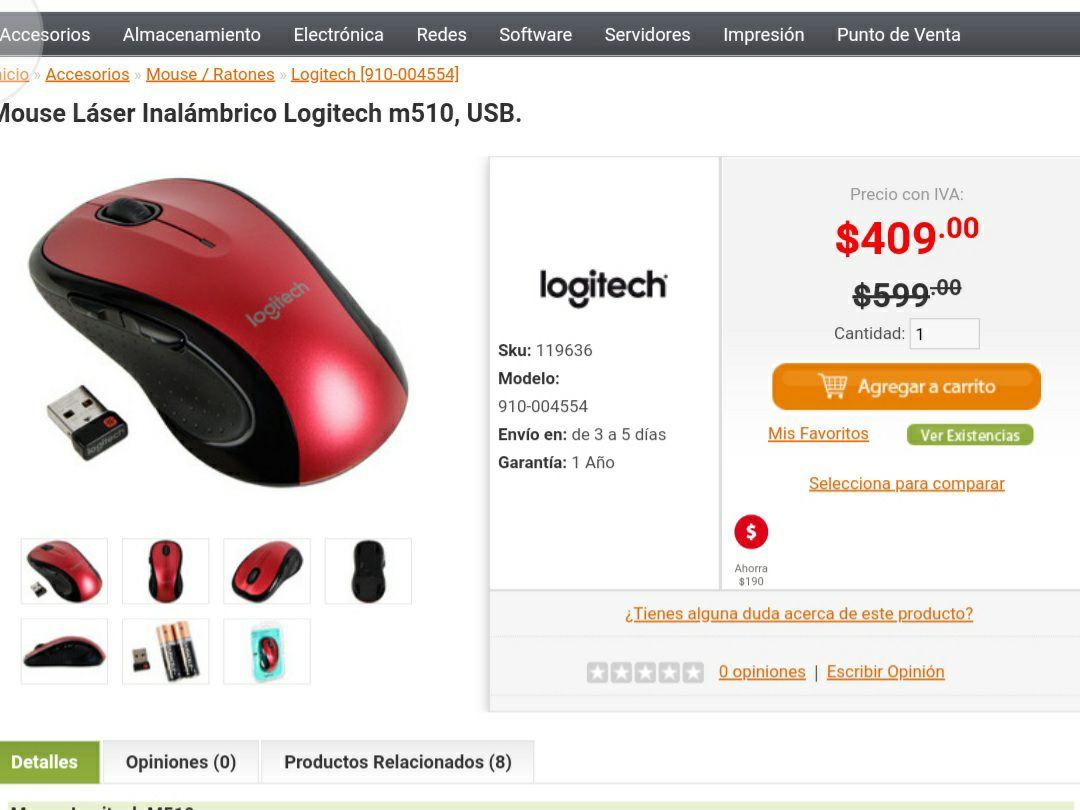 PCEL: Logitech mouse inalámbrico m510