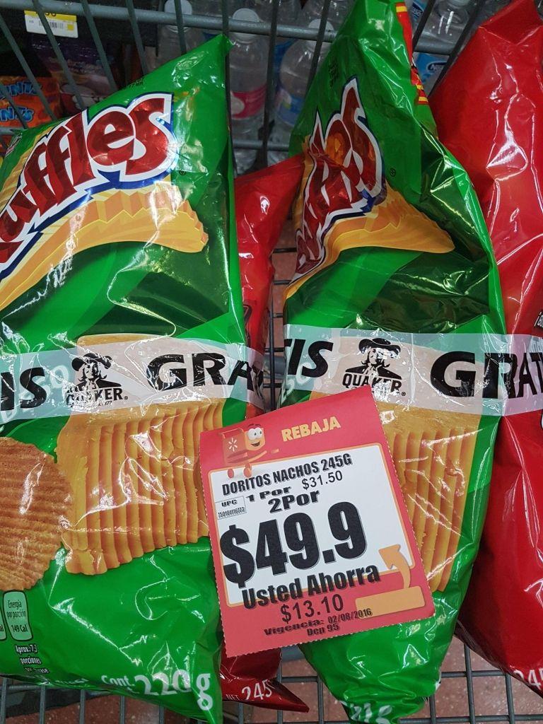 Walmart: 2 bolsas de doritos de 245 grs y 2 de rufles de 220 grs por $49.9