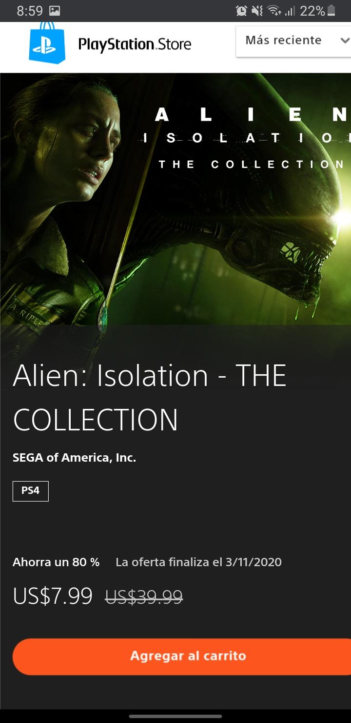 PSN. Alien Isolation para ps4