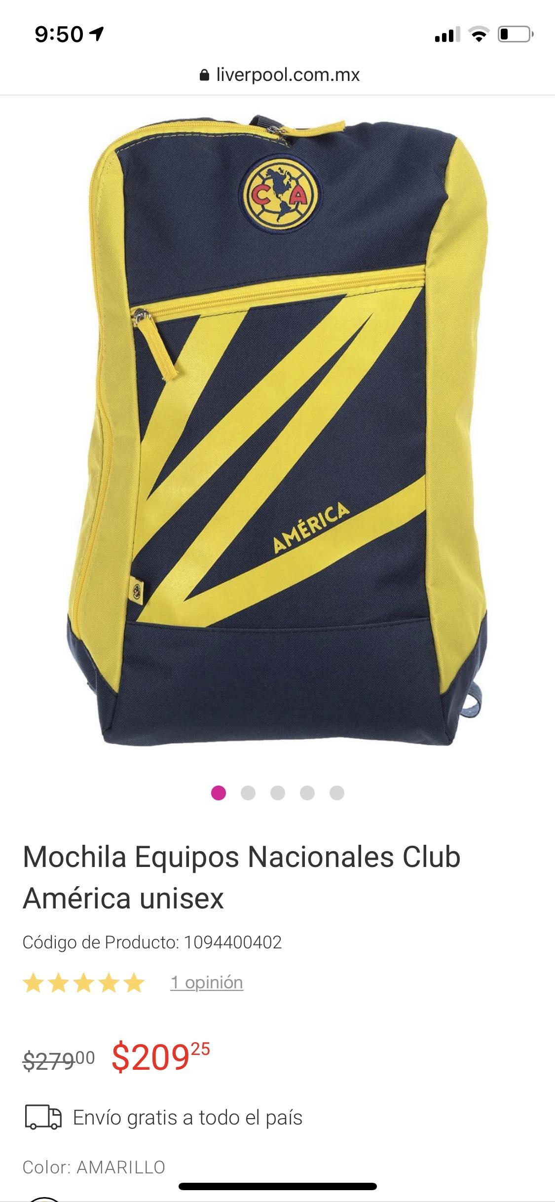 Liverpool: Mochila Equipos Nacionales Club América unisex