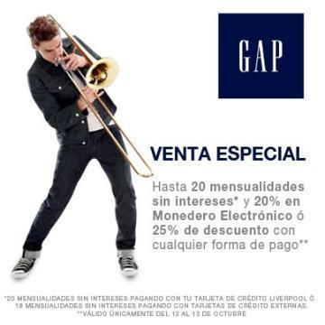 GAP: 25% de descuento o 20% en monedero y 18 meses sin intereses