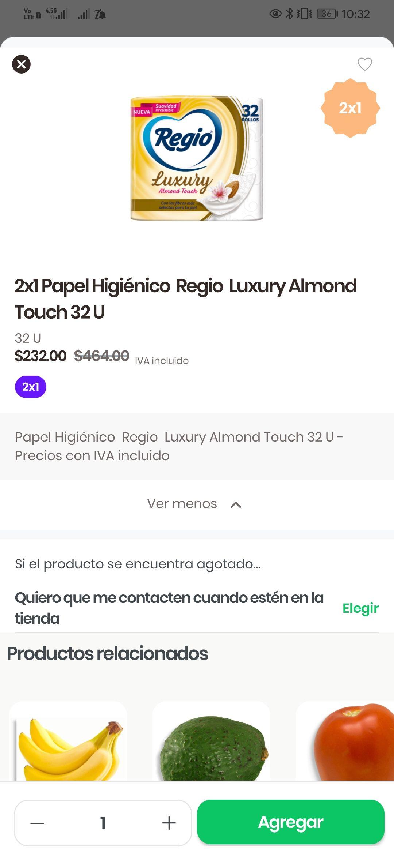 Rappi y Chedraui : 2x1 Regio Luxury (32 rollos por paquete)