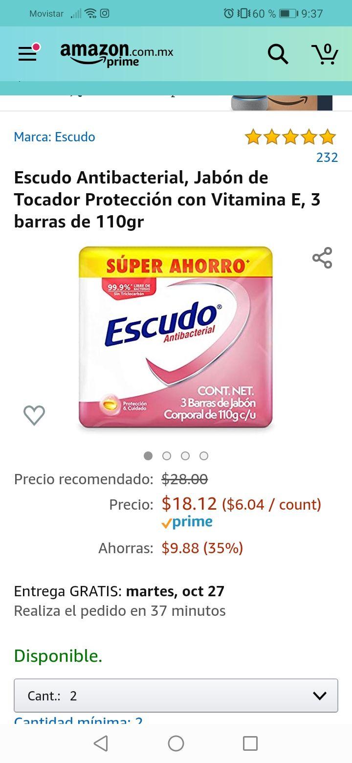 Amazon: Jabón escudo 3barras de 110gr