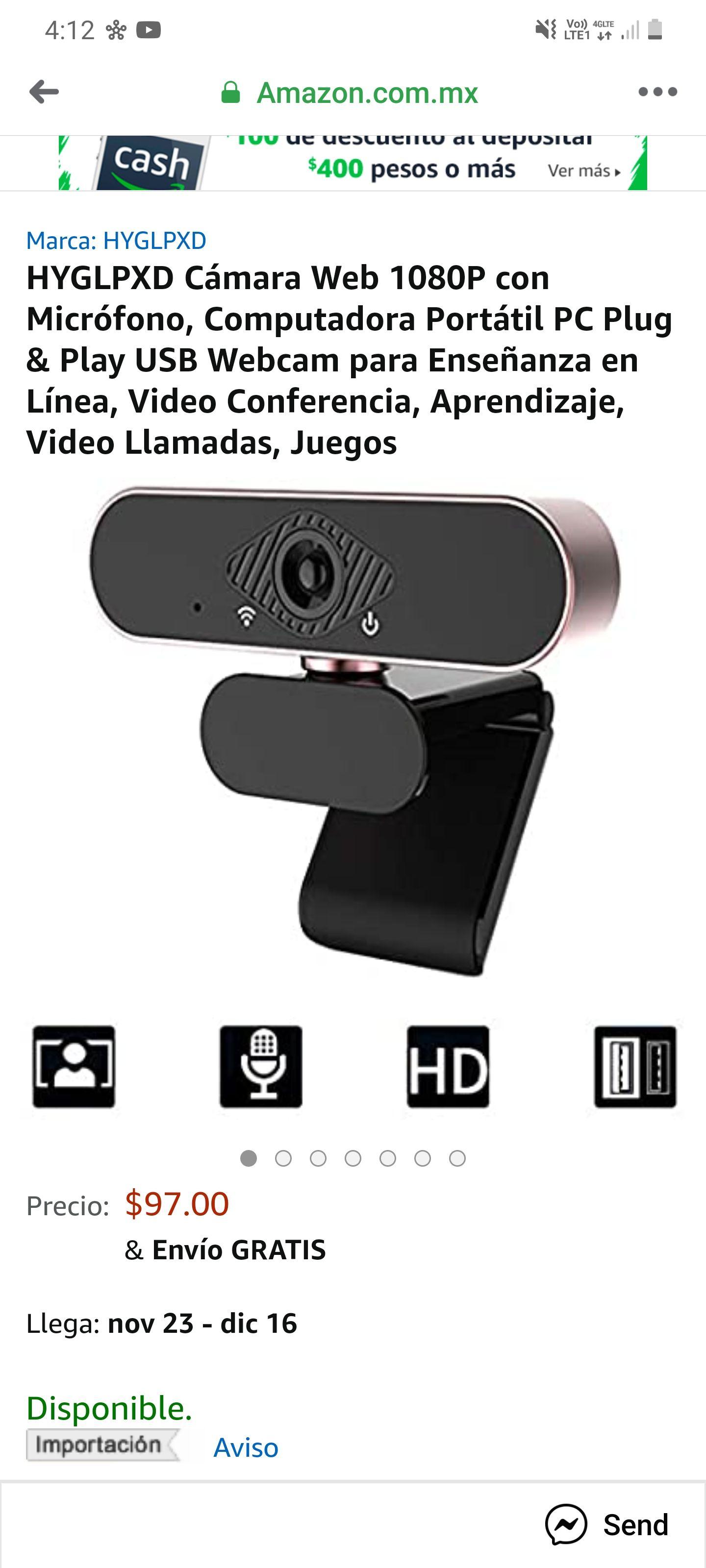 Amazon: Cámara web 1080p