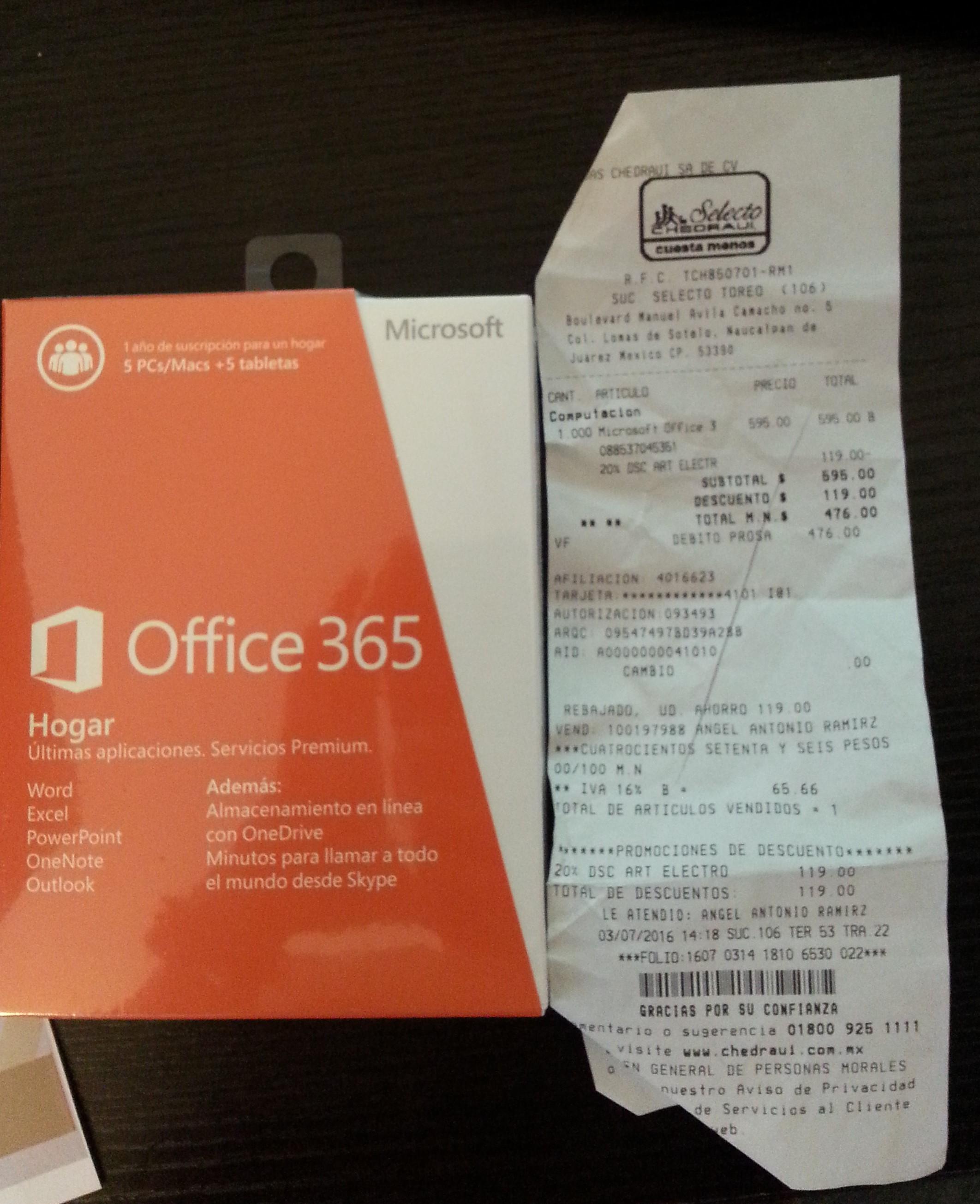 Chedraui Selecto: Office 365 Hogar. 1 año 5 equipos por $476
