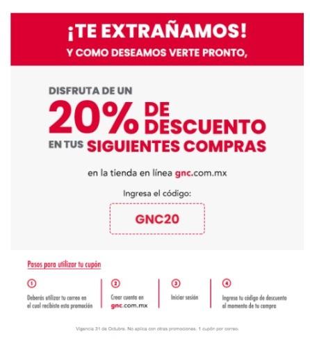 GNC con el 20% de descuento sin mínimo de compra.