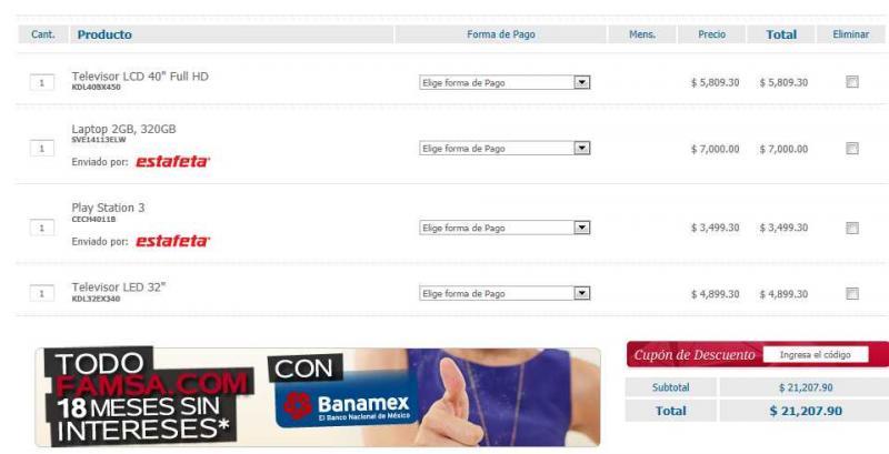 Famsa.com: 30% de descuento en todo Sony (pantallas, PS3, laptops, etc)
