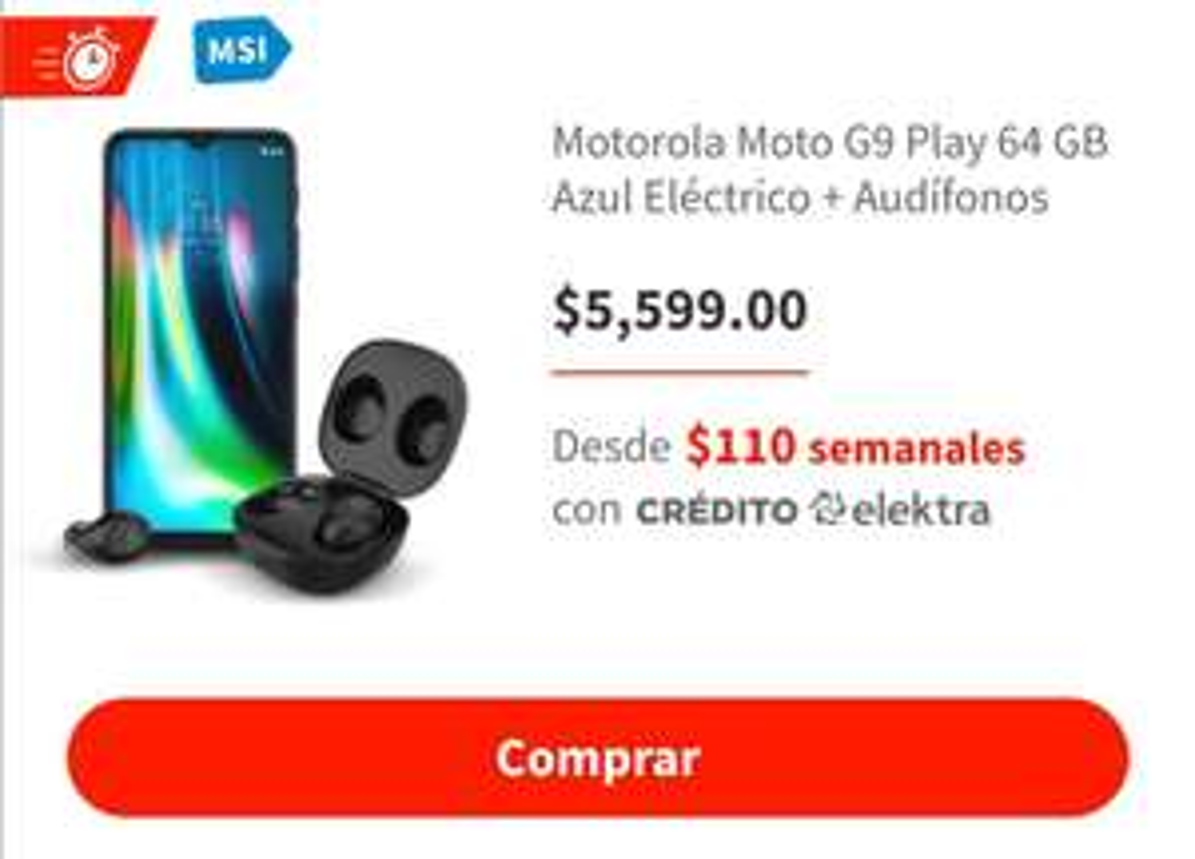Elektra: Moto g9 play más audífonos Motorola