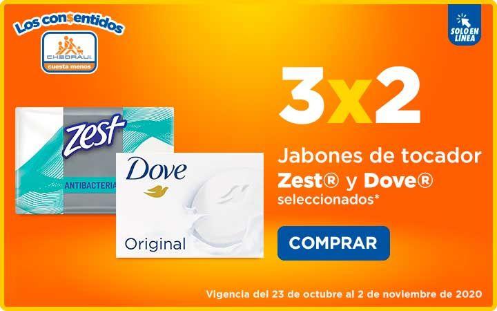 Chedraui: 3 x 2 en jabones de tocador Zest y Dove seleccionados