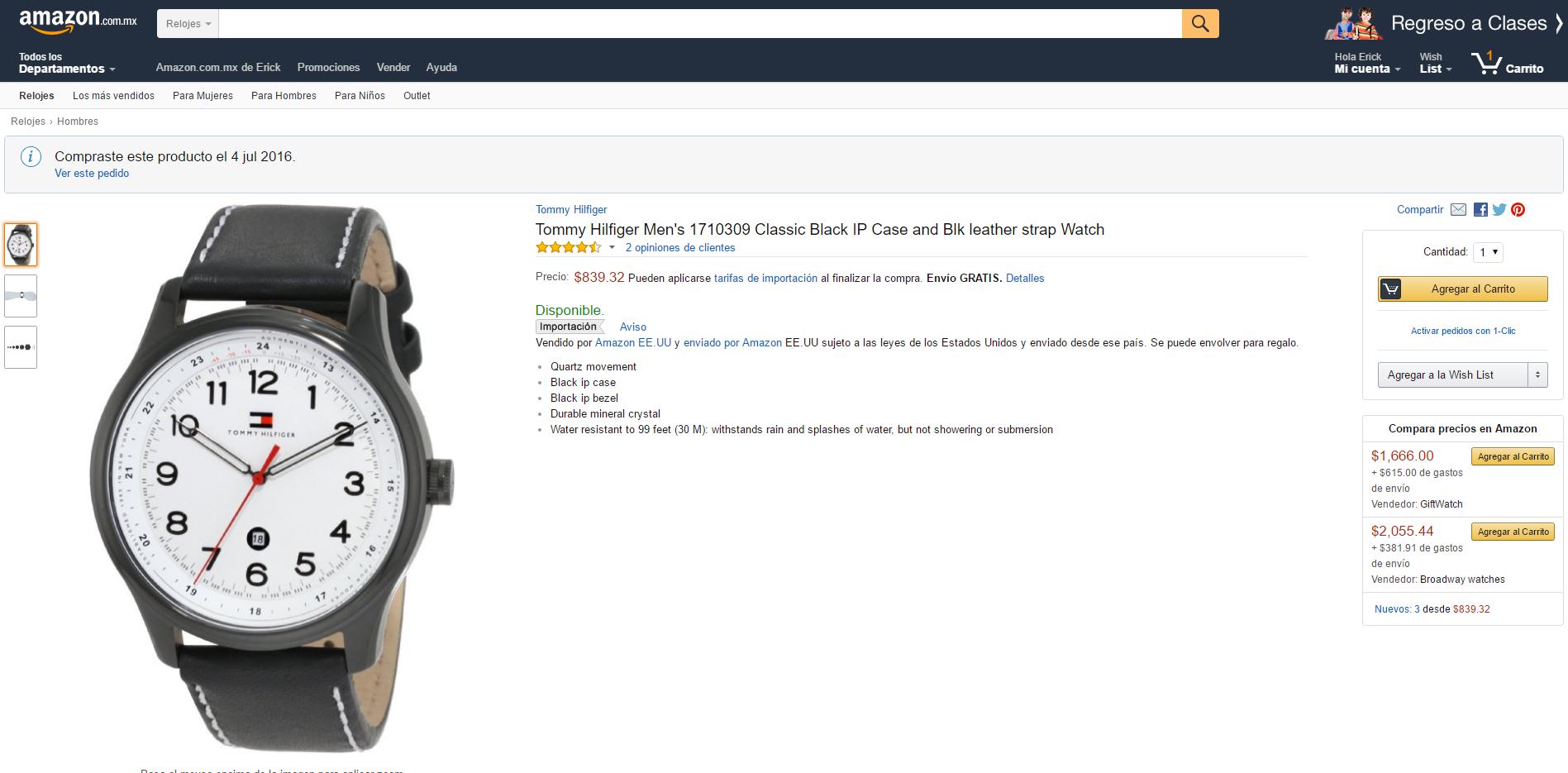 Amazon: Reloj Tommy Hilfiger 1710309 a $798