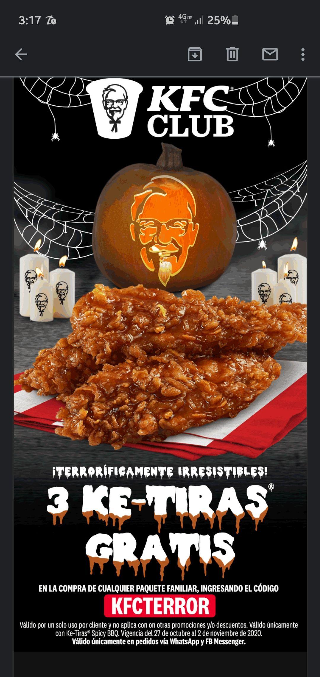 KFC: 3 ketiras gratis en la compra de cualquier paquete familiar