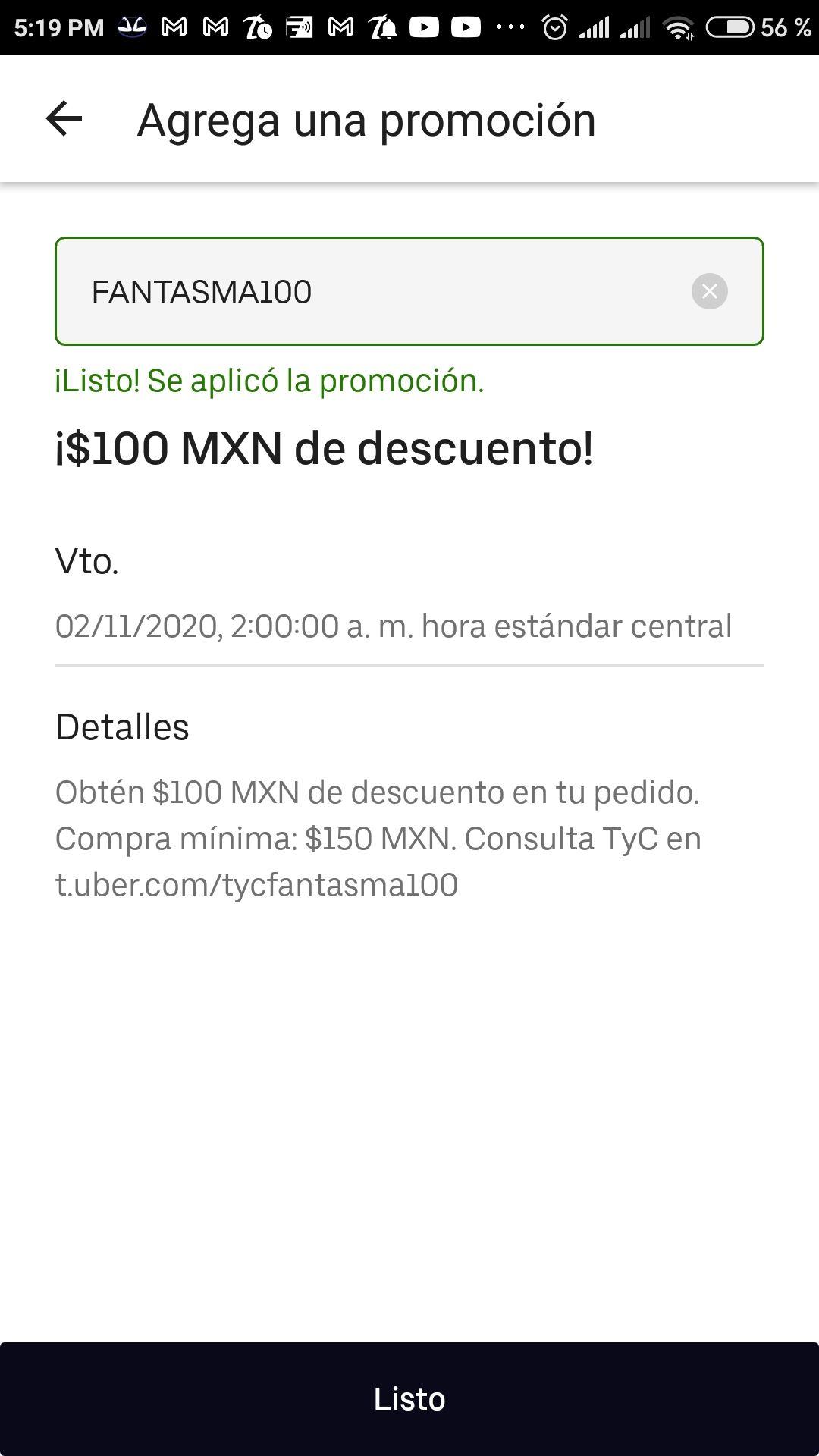 Uber Eats: $100 de descuento en compras mínimas de $150 (usuarios seleccionados)