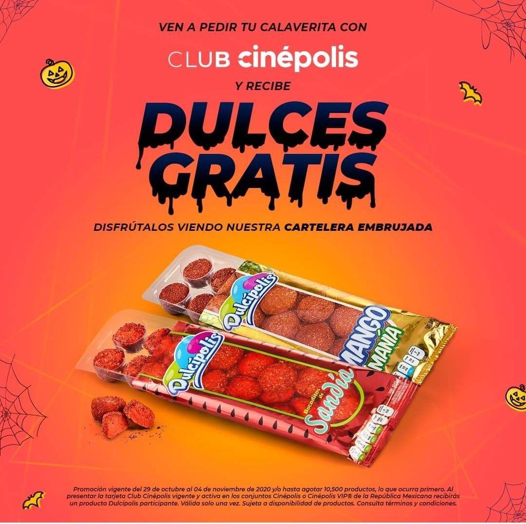 Cinépolis: Gomitas dulcipolis gratis con tarjeta club (29 octubre-04 noviembre)
