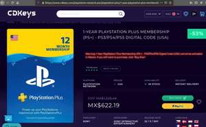 CDKEYS: Un año de playstation Plus