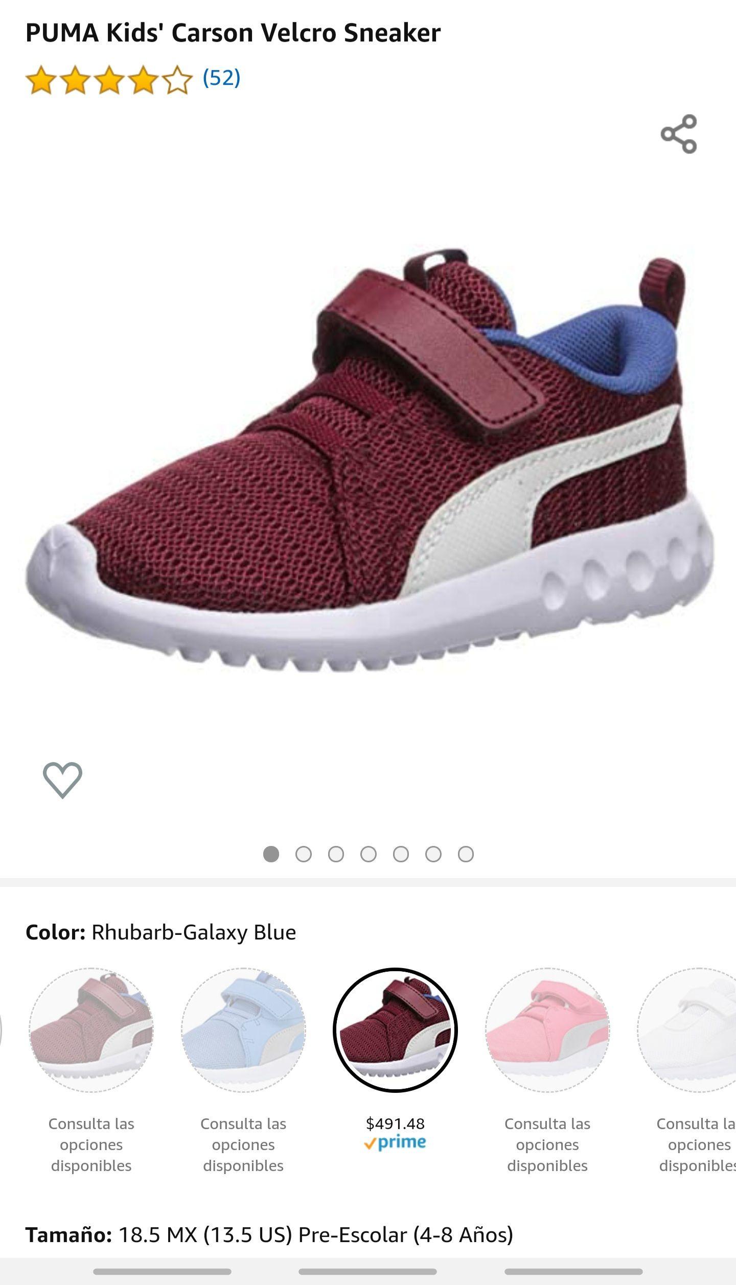 Amazon: PUMA Kids' Carson Velcro Sneakers Envio gratis con Prime