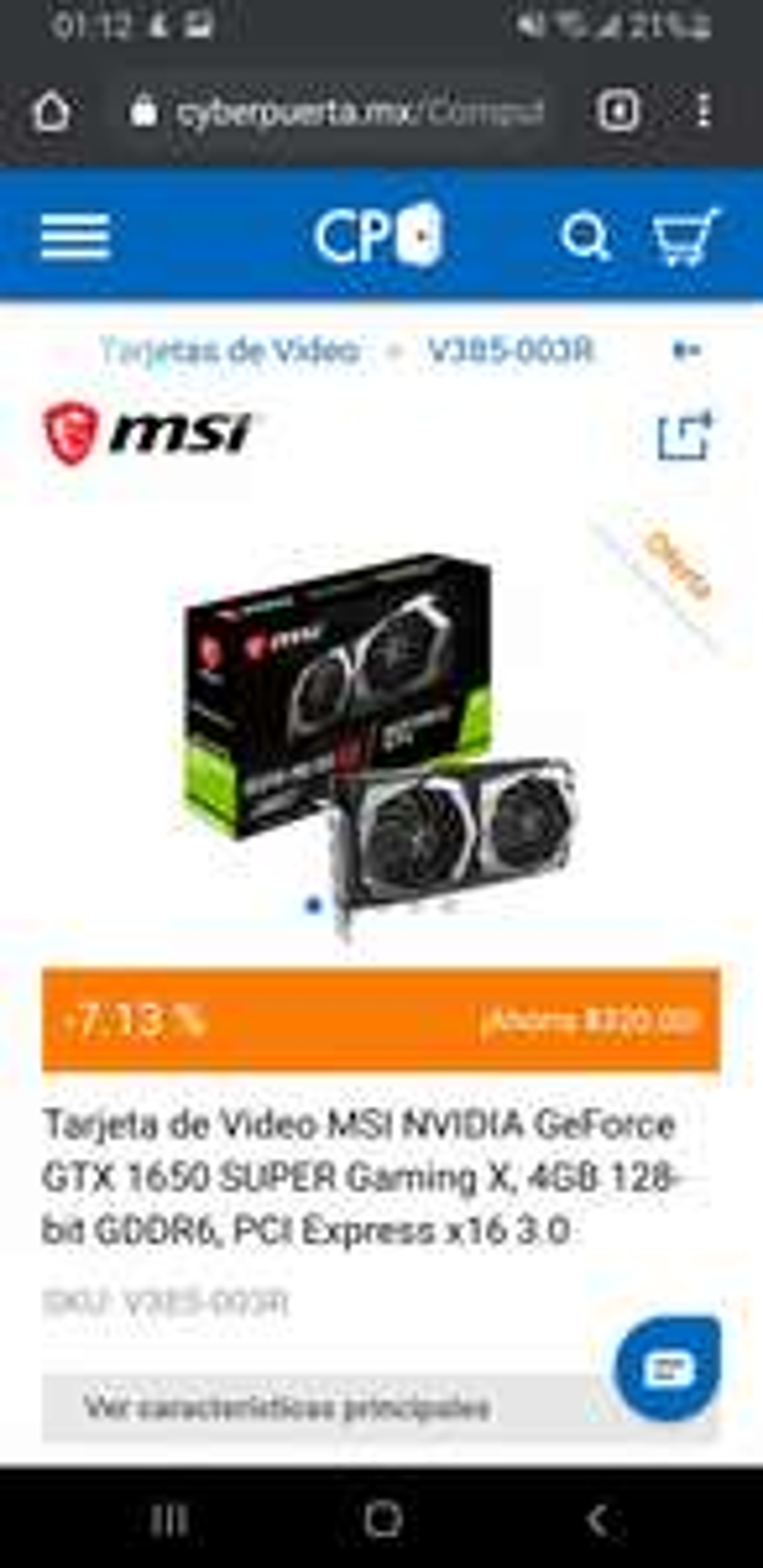 Cyberpuerta: MSI 1650 super Gaming X