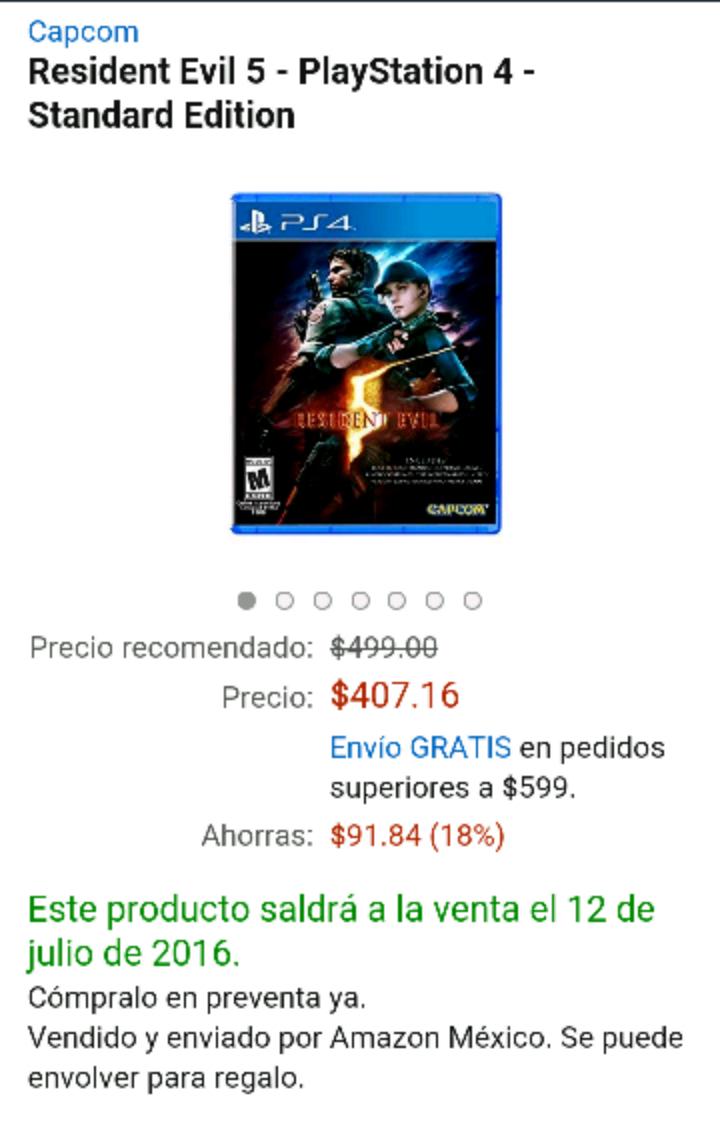 Amazon México: Resident Evil 5 para PS4 y Xbox One a $407