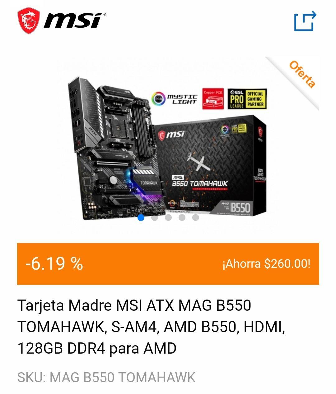 CyberPuerta: Motherboard MSI ATX MAG B550 Tomahawk