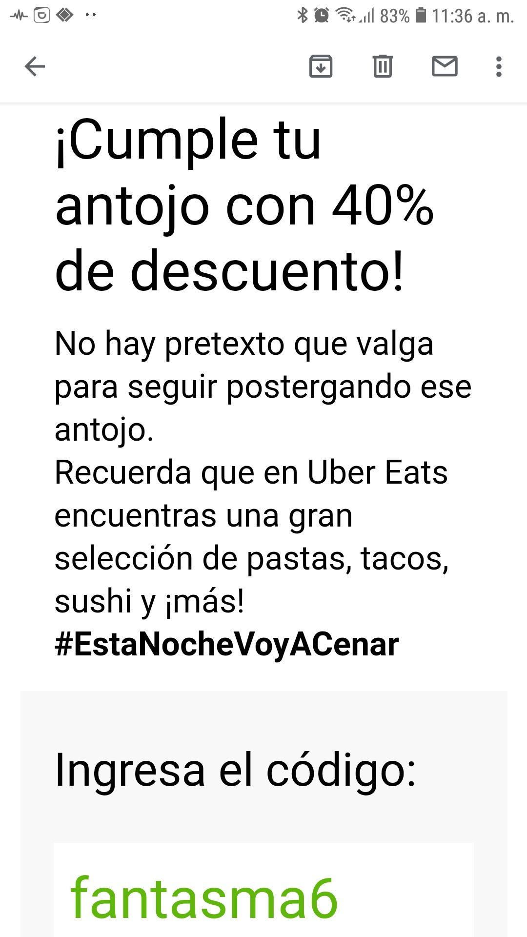 Uber Eats: Cupon de 40% para dos pedidos de minimo 270$. Maximo de descuento $180