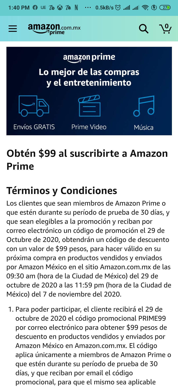Amazon: Descuento de 99 solo para nuevos miembros prime que reciban correo