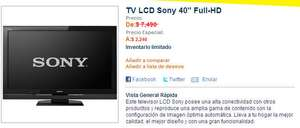 "Best Buy: pantalla LCD Sony 40"" $2,240 (¿error?)"