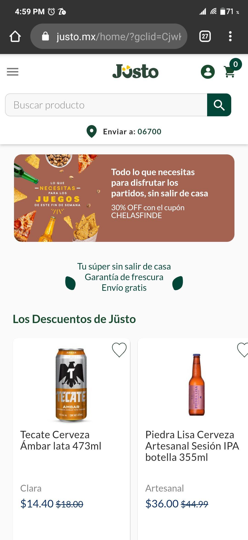 Jüsto: CUPON DE 30% en chelas