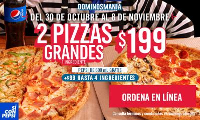 Domino's Pizza: Dominosmania, 2 Pizzas Grandes, Masa Original de 1 Ingrediente + 1 Refresco de 600 ml