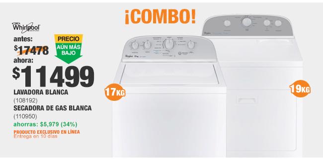 Home Depot en línea: Super Combo Lavadora y Secadora Whirlpool